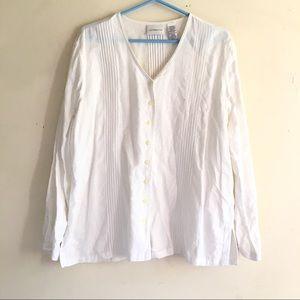 Liz Claiborne White Linen Tunic Top Button Sz1X